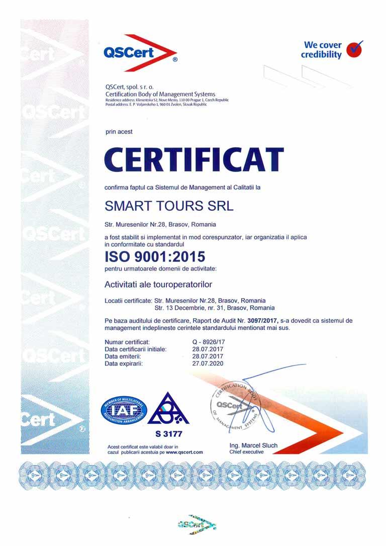 certificat smart tours brasov