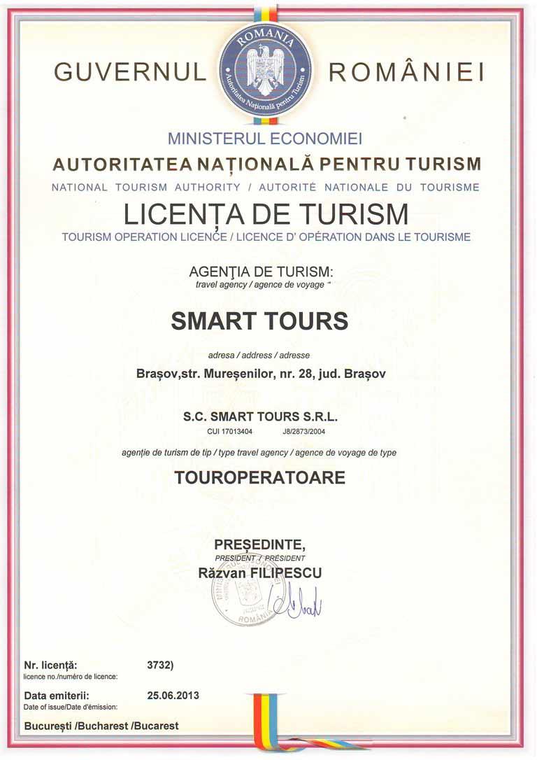 licenta turism smart tours brasov
